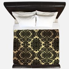 Black & Gold Damask King Duvet
