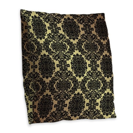 Black White And Gold Throw Pillows : Black & Gold Damask Burlap Throw Pillow by DamaskAndLace