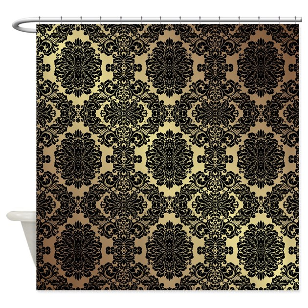 Black Gold Damask Shower Curtain By DamaskAndLace