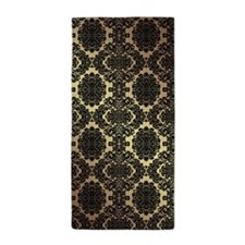 Black & Gold Damask Beach Towel