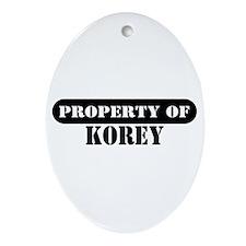 Property of Korey Oval Ornament