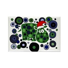 Christmas Hippo Abstract Art Rectangle Magnet