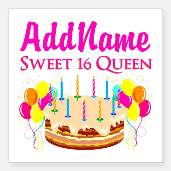 "CELEBRATE 16 Square Car Magnet 3"" x 3"""