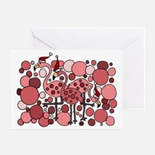 Pink Flamingos Christmas Abstract Greeting Card