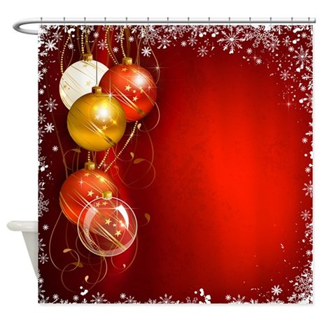 Christmas Ornaments Red Shower Curtain By Stargazerdesignsholidays