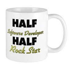 Half Software Developer Half Rock Star Mugs