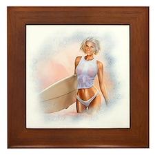 Sexy Surfer Girl Framed Tile