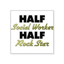 Half Social Worker Half Rock Star Sticker