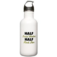 Half Social Worker Half Rock Star Water Bottle