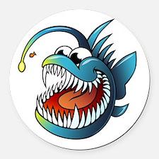 Cartoon Angler Fish Round Car Magnet