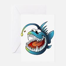 Cartoon Angler Fish Greeting Cards