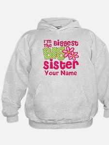 Biggest Big Sister Pink Green Hoodie