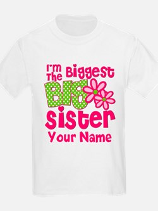 Biggest Big Sister Pink Green T-Shirt