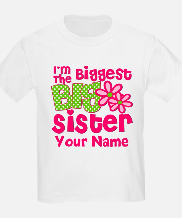 Biggest Big Sister Pink Green T-Shirt