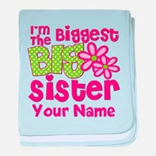 Biggest Big Sister Pink Green baby blanket