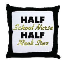 Half School Nurse Half Rock Star Throw Pillow