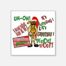 """Funny Christmas Hump Day Camel Square Sticker 3"""" x"""
