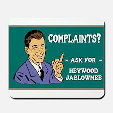 Heywood with chalboard backgr Mousepad