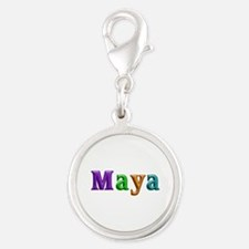 Maya Shiny Colors Silver Round Charm