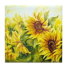 Sunflowers Oil Painting Tile Coaster