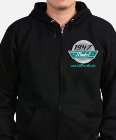 1947 Birthday Vintage Chrome Zip Hoodie