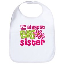 biggest sister pink green2 Bib
