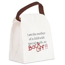 Back Off black.png Canvas Lunch Bag