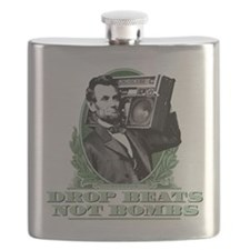 Drop Beats Not Bombs Abe Lincoln Quote Flask