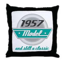 1957 Birthday Vintage Chrome Throw Pillow