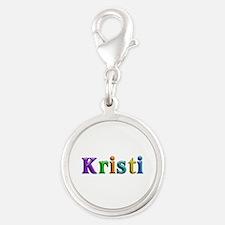 Kristi Shiny Colors Silver Round Charm