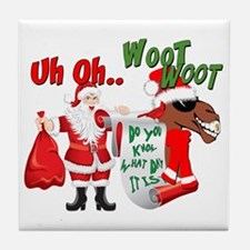 Uh Oh Hump Day Christmas Tile Coaster