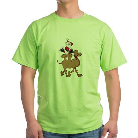 Santa on Hump Day Christmas Camel Green T-Shirt