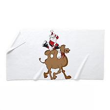 Santa on Hump Day Christmas Camel Beach Towel