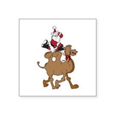 Santa on Hump Day Christmas Camel Square Sticker 3