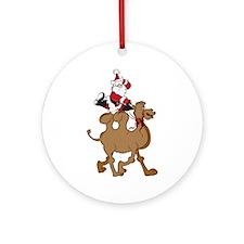 Santa on Hump Day Christmas Camel Ornament (Round)