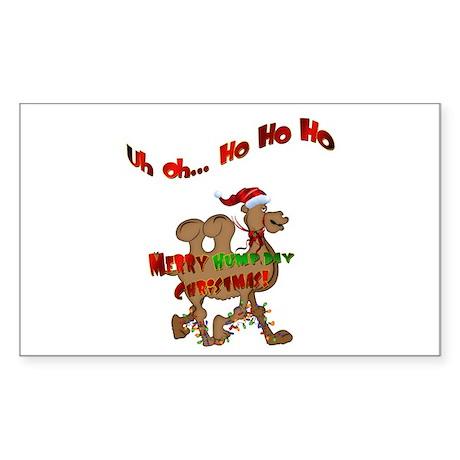Ho Ho Ho Christmas Hump Day Camel Sticker (Rectang