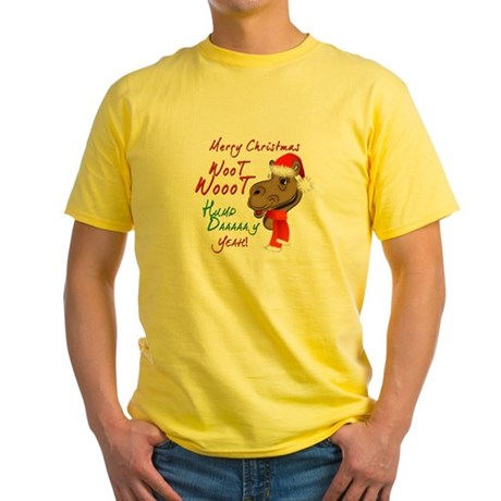 Merry Christmas Woot Woot Camel Yellow T-Shirt