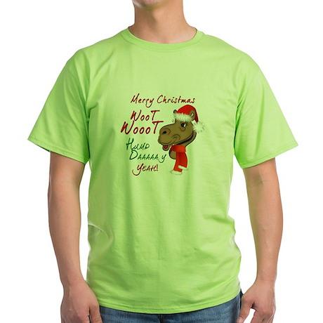 Merry Christmas Woot Woot Camel Green T-Shirt