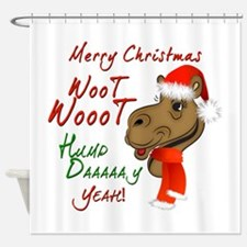 Merry Christmas Woot Woot Camel Shower Curtain