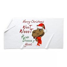 Merry Christmas Woot Woot Camel Beach Towel