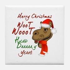 Merry Christmas Woot Woot Camel Tile Coaster