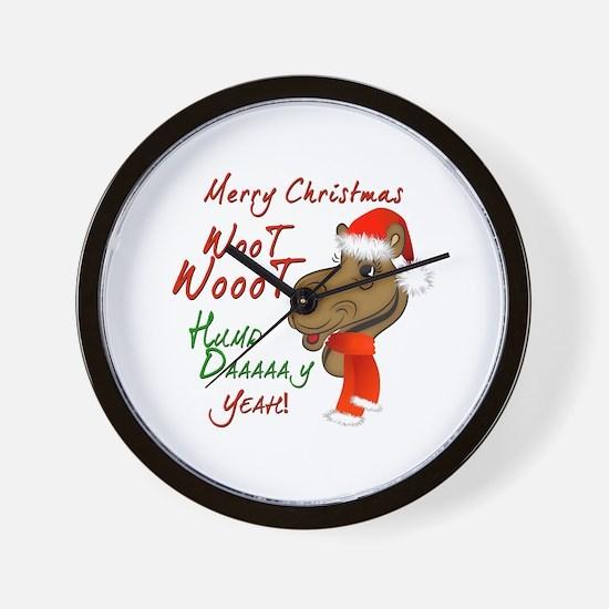 Merry Christmas Woot Woot Camel Wall Clock