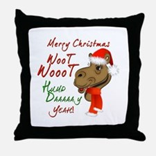 Merry Christmas Woot Woot Camel Throw Pillow
