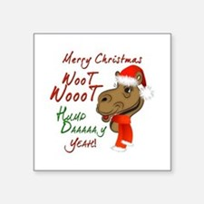 Merry Christmas Woot Woot Camel Square Sticker 3""