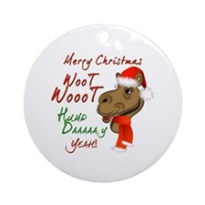 Merry Christmas Woot Woot Camel Ornament (Round)
