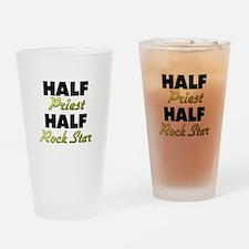 Half Priest Half Rock Star Drinking Glass