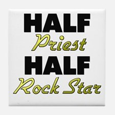 Half Priest Half Rock Star Tile Coaster