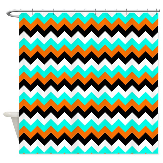 Aqua Orange And Black Chevron Shower Curtain By GraphicAllusions