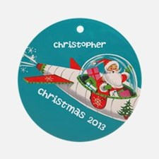 Personalized Retro Santa in Rocket Ornament