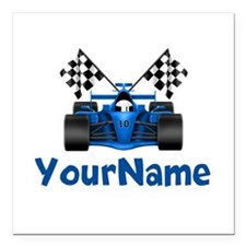 "Race Car Personalized Square Car Magnet 3"" x 3"""